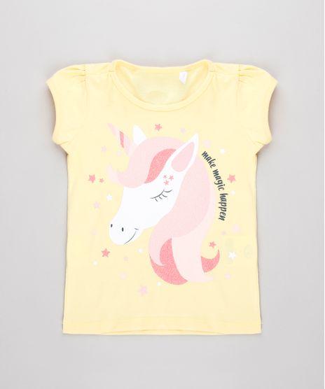 Blusa-Infantil-Unicornio-com-Brilho-Manga-Curta-Amarela-Claro-9631416-Amarelo_Claro_1
