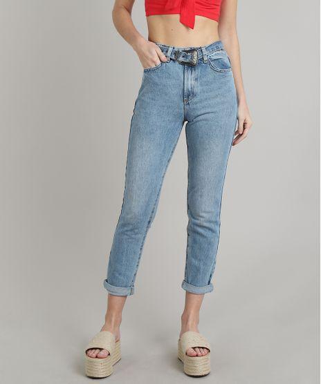 Calca-Jeans-Feminina-Mom-com-Cinto-Azul-Claro-9666357-Azul_Claro_1
