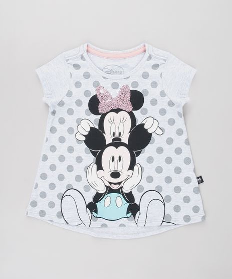 Blusa-Infantil-Mickey-e-Minnie-com-Paete-Estampada-de-Poa-Manga-Curta-Cinza-Mescla-Claro-9632326-Cinza_Mescla_Claro_1