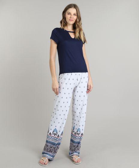 Pijama-Feminino-Choker-Arabescos-Manga-Curta-Azul-Marinho-9626326-Azul_Marinho_1