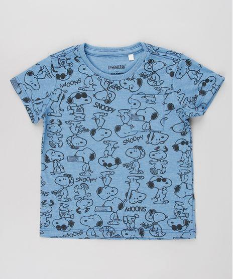 Camiseta-Infantil-Snoopy-Estampada-com-Bolso-Manga-Curta-Azul-9618696-Azul_1