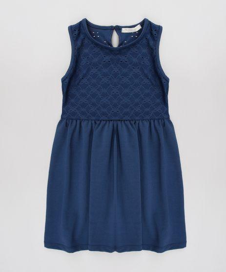 5640d4f89b7c Vestido-Infantil-em-Laise-Sem-Manga-Azul-Marinho-
