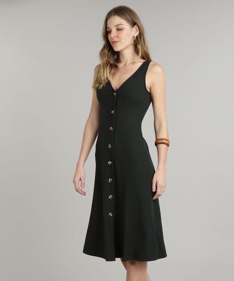 Vestido-Feminino-Midi-Canelado-com-Botoes-e-Fenda-Alcas-Finas-Verde-Escuro-9588312-Verde_Escuro_1