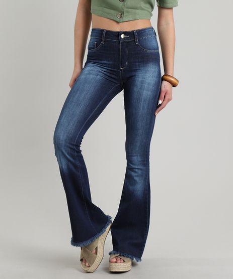 Calca-Jeans-Feminina-Sawary-Flare-Barra-Desfiada--Azul-Escuro-9106141-Azul_Escuro_1