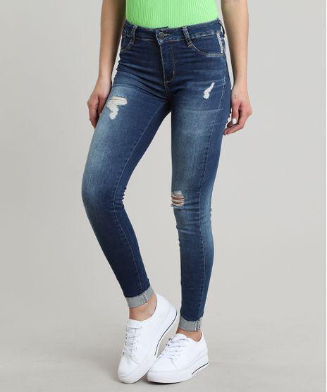 Calca-Jeans-Feminina-Sawary-Cigarrete-com-Rasgos-e-Strass-Barra-Dobrada-Azul-Escuro-9671800-Azul_Escuro_1