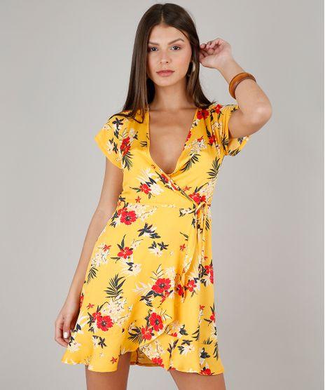 Vestido-Feminino-Estampado-Floral-Transpassado-Manga-Curta-Decote-V-Mostarda-9619876-Mostarda_1