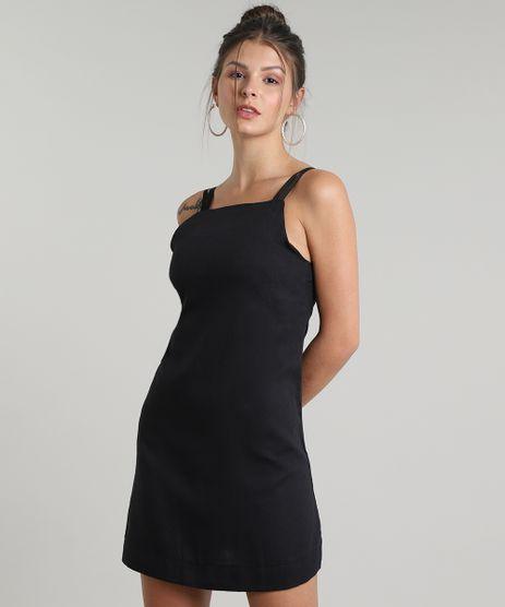 Vestido-Feminino-com-Linho-e-Vazado-Decote-Reto-Alcas-Finas--Preto-9645658-Preto_1