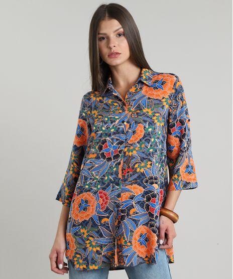 Camisa-Feminina-Estampada-de-Folhagem-Manga-Curta-Azul-Marinho-9562872-Azul_Marinho_1