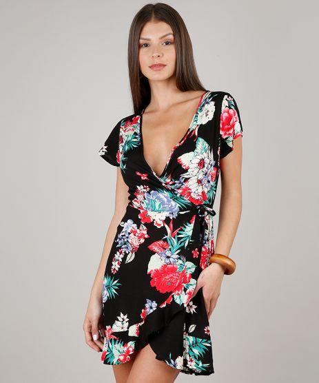 Vestido-Feminino-Estampado-Floral-Transpassado-Manga-Curta-Decote-V-Preto-9619878-Preto_1