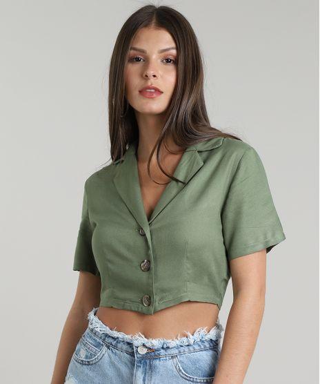 Camisa-Feminina-Cropped-com-Botoes-Manga-Curta--Verde-Militar-9612676-Verde_Militar_1