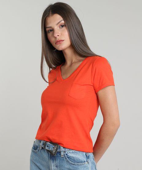 Blusa-Feminina-Basica-com-Bolso-Manga-Curta-Decote-V-Laranja-9160931-Laranja_1