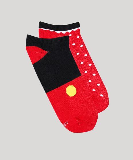 Kit-de-2-Meias-Femininas-Cano-Baixo-Mickey-e-Minnie-Vermelha-9659747-Vermelho_1