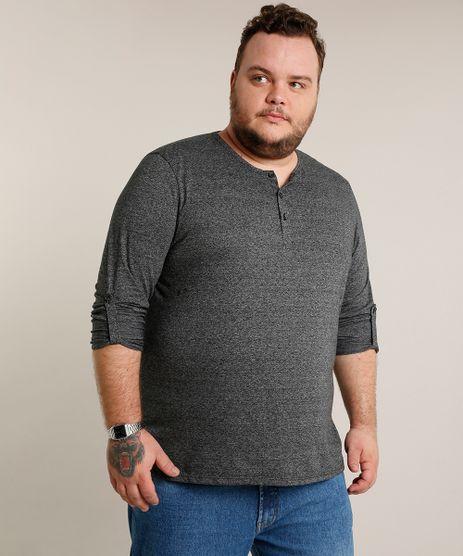 Camiseta-Masculina-Plus-Size-Comfort-com-Botoes-e-Martingale-Manga-Longa-Gola-Careca-Cinza-Mescla-Escuro-9471102-Cinza_Mescla_Escuro_1