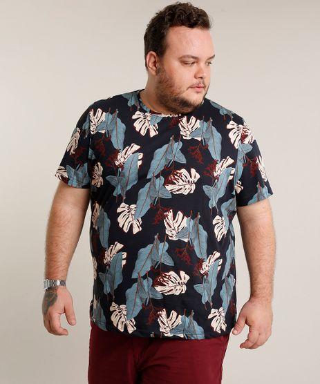Camiseta-Masculina-Plus-Size-Slim-Fit-Estampada-de-Folhagem-Manga-Curta-Gola-Careca-Azul-Marinho-9697805-Azul_Marinho_1