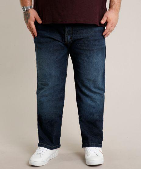 Calca-Jeans-Masculina-Plus-Size-Reta-com-Bolsos-Azul-Escuro-9693980-Azul_Escuro_1