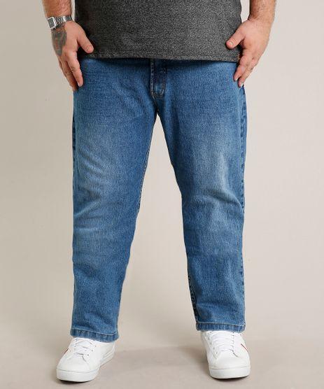 Calca-Jeans-Masculina-Plus-Size-Reta-com-Bolsos-Azul-Medio-9693981-Azul_Medio_1