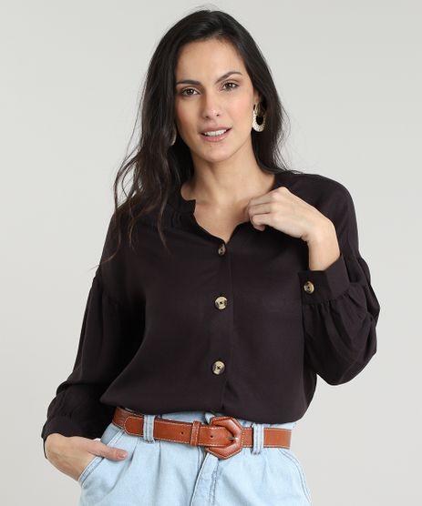 Camisa-Feminina-com-Botoes-Manga-Bufante-Preta-9535286-Preto_1