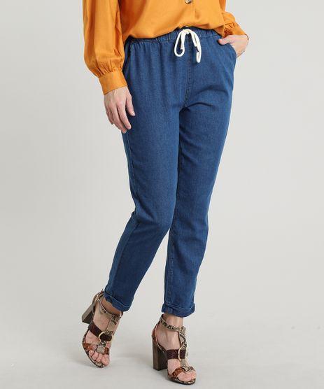 Calca-Jeans-Feminina-Jogger-com-Bolso-e-Cadarco-Azul-Escuro-9662965-Azul_Escuro_1