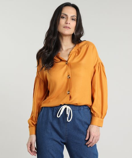 Camisa-Feminina-com-Botoes-Manga-Bufante-Mostarda-9535286-Mostarda_1