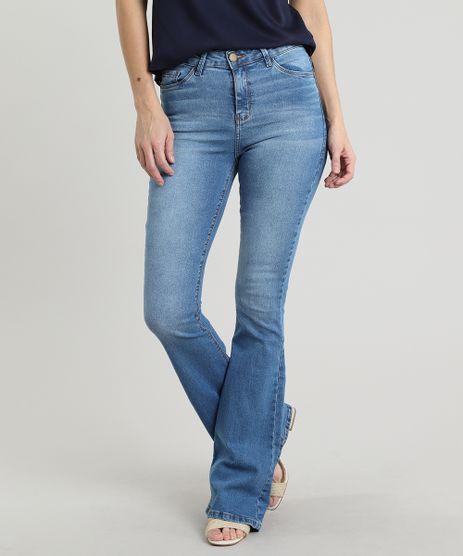 Calca-Jeans-Feminina-Flare-com-Bolsos-Azul-Medio-9665062-Azul_Medio_1
