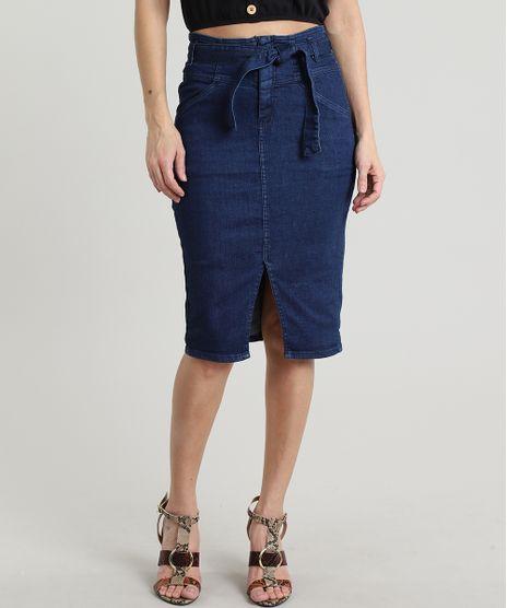 Saia-Jeans-Feminina-Lapis-Clochard-com-Fenda-Azul-Escuro-9640544-Azul_Escuro_1