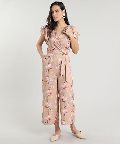 Macacao-Feminino-Transpassado-Estampado-Floral-com-Babado-e-Faixa-Manga-Curta-Bege-9559254-Bege_1