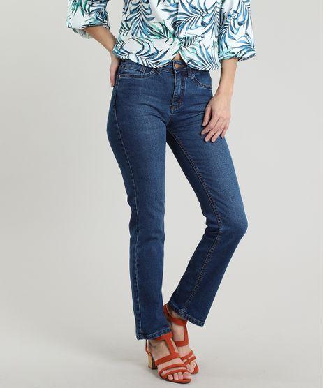 Calca-Jeans-Feminina-Reta-com-Bolsos-Azul-Escuro-9665135-Azul_Escuro_1