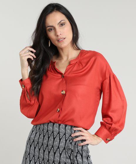 Camisa-Feminina-com-Botoes-Manga-Bufante-Cobre-9535286-Cobre_1