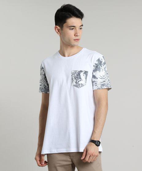 Camiseta-Masculina-com-Bolso-Estampado-de-Folhagem-Manga-Curta-Gola-Careca-Branca-9636467-Branco_1