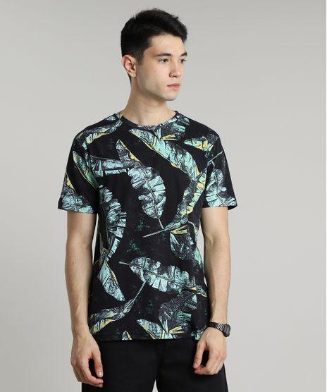 Camiseta-Masculina-Estampada-Folhagem-de-Bananeira-Manga-Curta-Gola-Careca-Preta-9626394-Preto_1