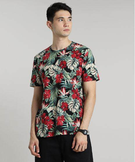 Camiseta-Masculina-Estampada-Floral-Manga-Curta-Gola-Careca-Preta-9597458-Preto_1