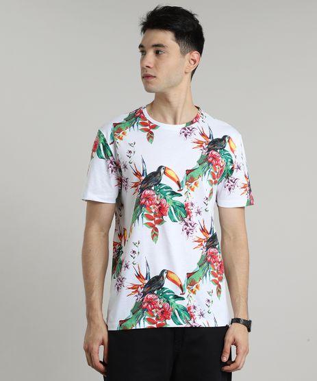 Camiseta-Masculina-Estampada-de-Tucanos-Manga-Curta-Gola-Careca-Branca-9597455-Branco_1