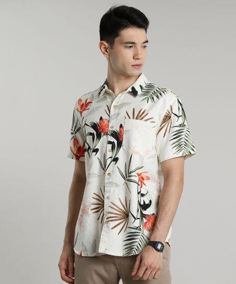 Camisa-Masculina-Estampada-de-Folhagem-com-Linho-Manga-Curta-Bege-Claro-9588236-Bege_Claro_1