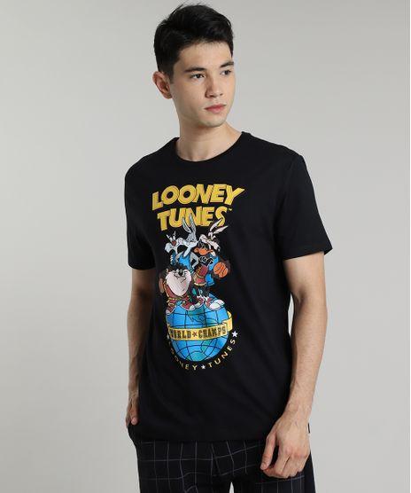 Camiseta-Masculina-Looney-Tunes-Manga-Curta-Gola-Careca-Preta-9687493-Preto_1