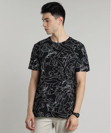 Camiseta-Masculina-Pernalonga-Estampada-Manga-Curta-Gola-Careca-Preta-9597456-Preto_1
