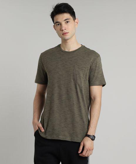 Camiseta-Masculina-Basica-Mescla-com-Bolso-Manga-Curta-Gola-Careca-Verde-Militar-9682790-Verde_Militar_1