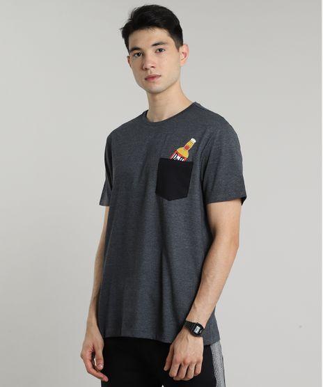 Camiseta-Masculina-Duff-Beer-Os-Simpsons-com-Bolso-Manga-Curta-Gola-Careca-Cinza-Mescla-Escuro-9687495-Cinza_Mescla_Escuro_1