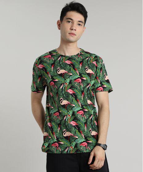 Camiseta-Masculina-Estampada-de-Flamingos-e-Folhagem-Manga-Curta-Gola-Careca-Preta-9597342-Preto_1