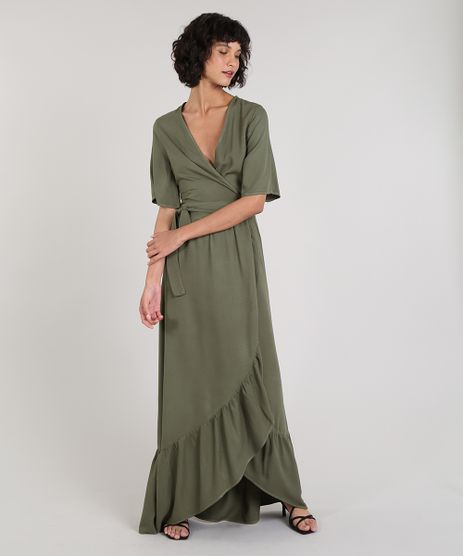 Vestido-Feminino-Mindset-Longo-Envelope-Manga-Curta-Verde-Militar-9690439-Verde_Militar_1