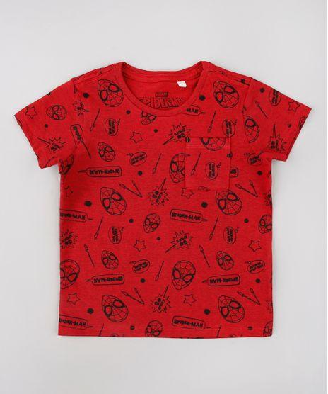 Camiseta-Infantil-Homem-Aranha-Estampada-com-Bolso-Manga-Curta-Vermelha-9618714-Vermelho_1