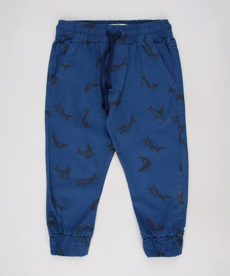 Calca-de-Sarja-Infantil-Jogger-Estampada-de-Tubaroes-com-Bolsos-Azul-Marinho-9632503-Azul_Marinho_1