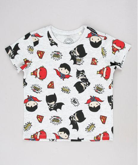 Camiseta-Infantil-Liga-da-Justica-Estampada-com-Bolso-Manga-Curta-Cinza-Mescla-Claro-9618717-Cinza_Mescla_Claro_1