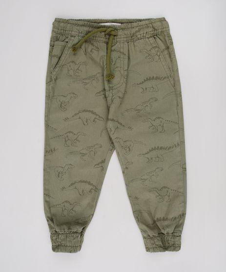 Calca-de-Sarja-Infantil-Jogger-Estampada-de-Dinossauros-com-Bolsos-Verde-Militar-9634621-Verde_Militar_1