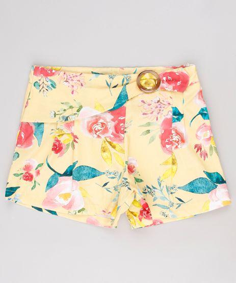 Short-Infantil-Estampado-Floral-com-Fivela-Amarelo-9635449-Amarelo_1