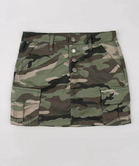 Saia-de-Sarja-Infantil-Cargo-Estampada-Camuflada-Verde-Militar-9655380-Verde_Militar_1