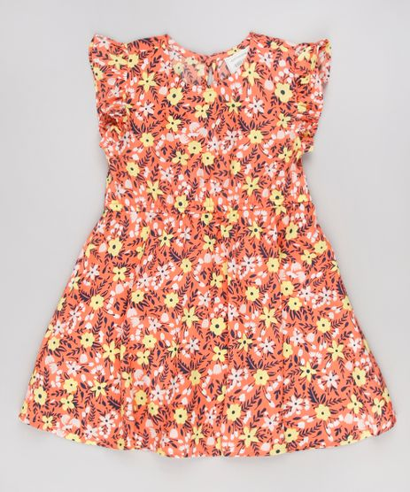 Vestido-Infantil-Estampado-Floral-Sem-Manga-Laranja-9515362-Laranja_1