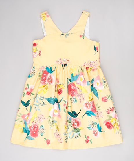 d25905c87119 Vestido-Infantil-Estampado-Floral-Sem-Manga-Amarelo-9635448-