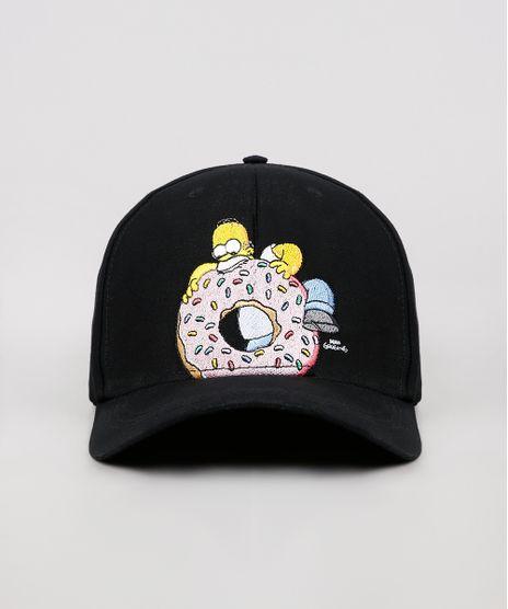 Bone-Masculino-Aba-Curva-Homer-Simpson-com-Bordado-Preto-9636630-Preto_1