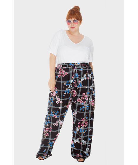 90fbc51dfdfe81 Calça Pantalona Xadrez Floral Plus Size
