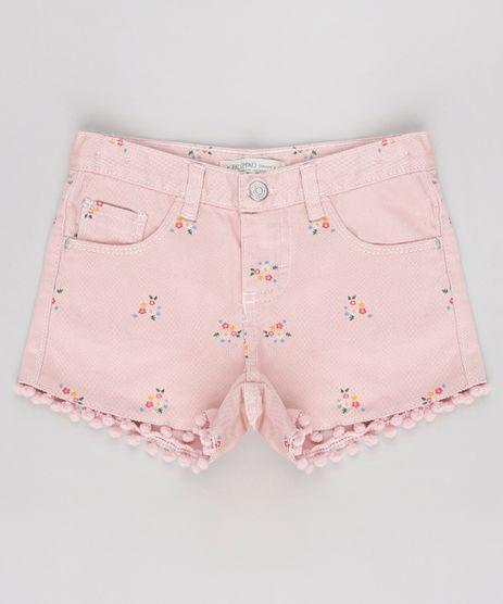 Short-de-Sarja-Infantil-Estampado-Floral-com-Pompom-Rose-9620383-Rose_1